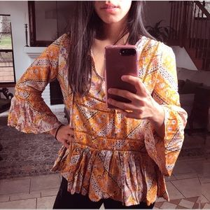 JAASE Marigold Rose Blouse With Bell Sleeves